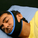 man wearing anti-snoring chinstrap