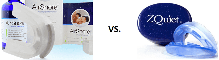 comparing the airsnore and zquiet anti-snoring mouthpieces