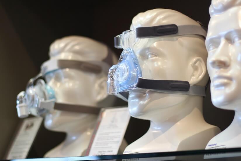 cpap masks on a shelf