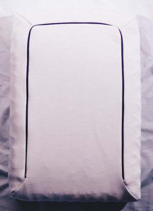 purple pillow inside case