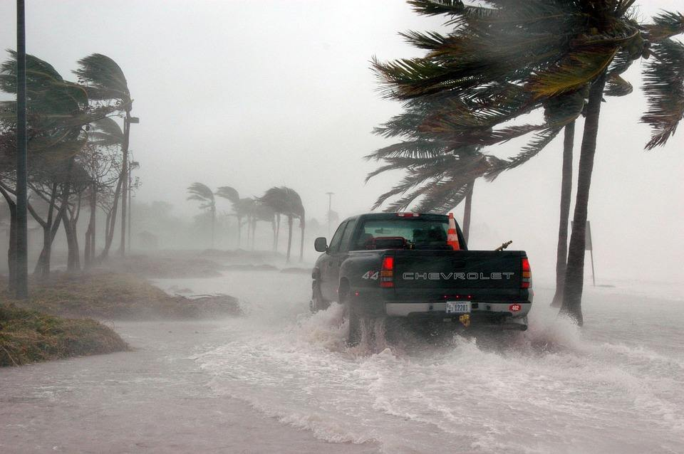 truck driving in a hurricane