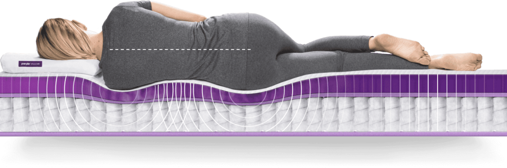 spinal alignment with purple mattress